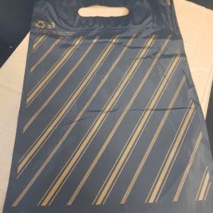 RGF004#Eastpac#15x18blackgoldstripecarrierbags